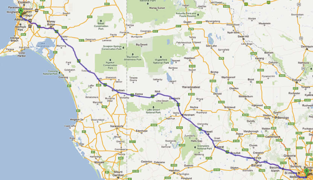 Drive from Adelaide to Melbourne map.